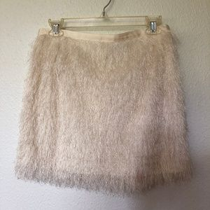 H&M furry mini skirt white